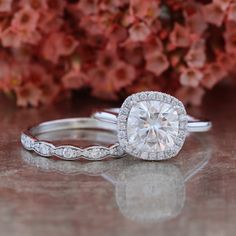 Forever One Moissanite Engagement Ring Bridal Set and Scalloped Diamond Wedding Band in 14k White Gold 8x8mm Cushion Halo Diamond Ring Set