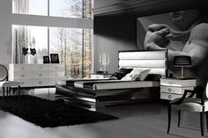 Mens bedroom decor black white interior wallpaper 40 stylish bachelor bedroom ideas and decoration tips Black Bedroom Furniture, Home Decor Bedroom, Bedroom Ideas, Bedroom Tax, Lacquer Furniture, Glam Bedroom, Luxury Furniture, Furniture Ideas, Gothic Bedroom