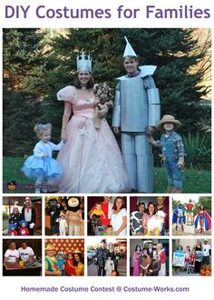 Homemade Costumes for Families - a lot of costume ideas! Now this is why being a mom is so fun. I still get times to act like a total kid. Me and the kiddos are going to do something fun. Paisley will probably freak out. Lol