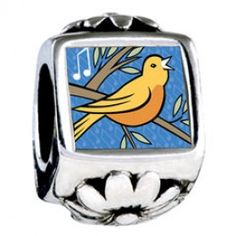 Four Calling Birds Photo Storybook Photo Flower Charms  Fit pandora,trollbeads,chamilia,biagi,soufeel and any customized bracelet/necklaces. #Jewelry #Fashion #Silver# handcraft #DIY #Accessory