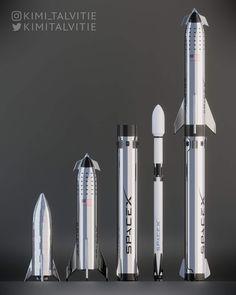 SpaceX Starhopper, Starship, Super Heavy, Falcon 9 and Big Falcon Rocket model comparison by Kimi Talvitie Spacex Starship, Spacex Rocket, Nasa Spacex, Jupiter 2, Programa Apollo, Space Exploration Technologies, Falcon 9 Rocket, Falcon Heavy, Spaceship Concept