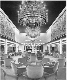 """The class ballroom """"Fiorenza"""" of Michelangelo - La sala da ballo Ss Normandie, 1960s Interior, Interior Design, Nautical Interior, 1950s Design, Michelangelo, Water Crafts, Architecture Design, Cruise Ships"""