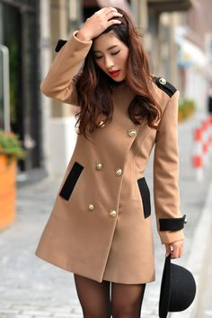 Contrast color coat! Camel + black. I love it!