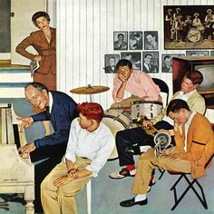 Jamming with Dad by John Falter Painting Print on Wrapped Canvas