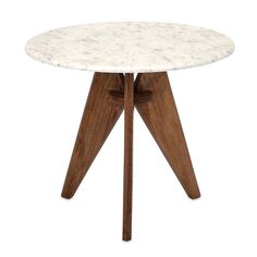 Imax Febe Marble Top End Table - Modern with a bit of vintage flair, the Imax Febe Marble Top End Table is a fun addition to your decor. Three wood legs come together in a tripod...