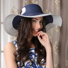 Summer floppy straw hat for women with bow