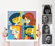POSTER DE FAMÍLIA (3 A 4 INTEGRANTES), criado pela ilustradora Clau Souza  https://loja.tenhaborogodo.com.br/poster-personalizado-familia