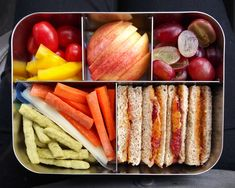 This spacious, stainless steel bento box features five compartments, making it easy for you to add variety to your child's meal. Healthy Lunches For Kids, Healthy Toddler Meals, Lunch Snacks, Healthy Meal Prep, Easy Healthy Recipes, Healthy Snacks, Healthy Eating, Bag Lunches, Work Lunches