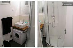 Space saving in bathroom, bathroom sink over washing machine