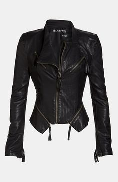 Edgy leather jacket w/ tassels for $98. This would look great with a flirty, floral dress for #spring.