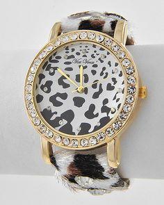 Gold Tone / White Fur / Clear Rhinestone / Buckle Closure / Animal Print / Ladies` Watch