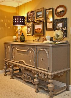 Antique Buffet spraypainted Barnboard by Benjamin Moore. Painting Old Furniture, Refurbished Furniture, Ikea Furniture, Repurposed Furniture, Furniture Decor, Painted Furniture, Antique Buffet, Antique Cabinets, Benjamin Moore