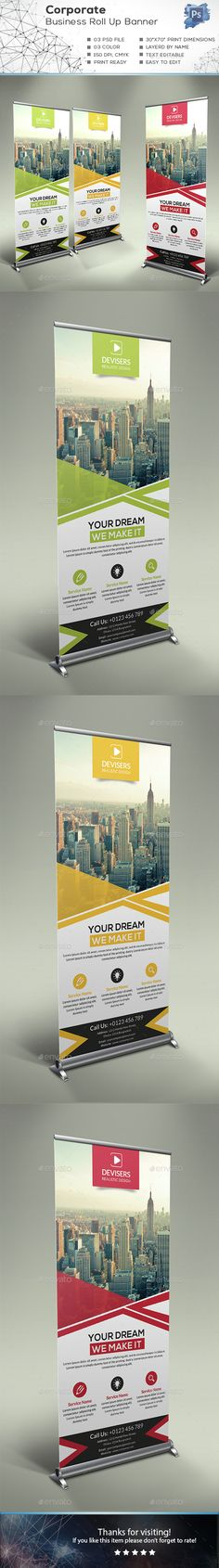Corporate Business Roll Up Banner — Photoshop PSD Pop Up Banner, Web Banner, Banner Template, Flyer Template, Signage Design, Brochure Design, Banner Design, Branding Design, Corporate Flyer