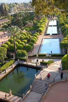 Gardens in the Alcazar in Cordoba in Spain
