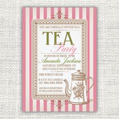Garden Tea Party Invitation  Pink Bridal Shower Printable On