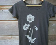 Womens T shirt with Poppy  Organic Cotton  Gray / Grey by Uzura, $32.00