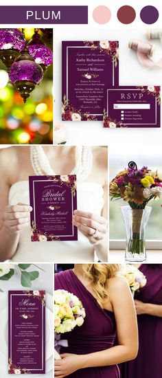Check out this gorgeous Plum Purple Wedding Color Invitation Suite for some wedding inspiration and create your dream wedding.