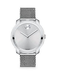 Bold Stainless Steel Mesh Bracelet Watch Movado - Swiss quartz movementWater…