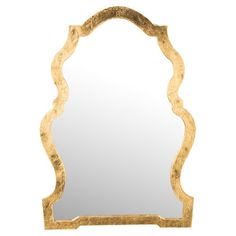 Showcasing a curvy silhouette and gold-hued frame, this eye-catching wall mirror adds a touch of charm to your entryway or living room.