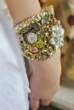 Use broken costume jewelry and friendship bracelets, etc. to create unique piece