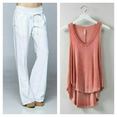 The Perfect outfit. Linen Pants and a V Neck Tank. Shop www.seaside-boutique.com
