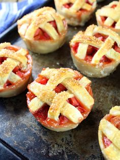 Mini Strawberry Rhubarb Pies in Muffin Tins