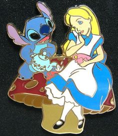Stitch and Alice In Wonderland Be My Valentine series pin from Fantasies Come True