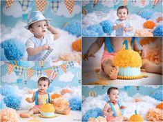 Orange & Blue Cake for Cake Smash. Cake Smash Photo Shoot. Kids Photographer. Shipra & Amit Chhabra Photography - Delhi NCR
