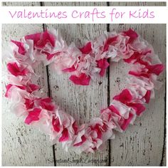 Looking for easy Valentines crafts for kids? Try this tried and true kid craft. All you need is paper, scissors, glue, a pencil and tissue paper.