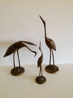 Vintage family of 3 brass cranes by FromThenOn on Etsy