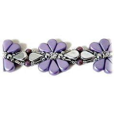 Bracelet Connie en perles en verre Amos®, Bugles Miyuki et Swarovski Crystal Mesh