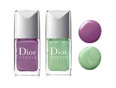 Dior's new Garden Party scented nail colours in Waterlily and Forget-me-not (lilac)