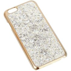 Miss Selfridge Glitter Phone Case ($15) ❤ liked on Polyvore featuring accessories, tech accessories, silver color and miss selfridge