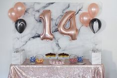 Rose Gold Marble Party Tablescape Agave Air www… Birthday Celebration! 14 Birthday Party Ideas, Birthday Presents For Teens, Sleepover Birthday Parties, Gold Birthday Party, Golden Birthday, 14th Birthday, Gold Party, Birthday Party Decorations, Birthday Celebration