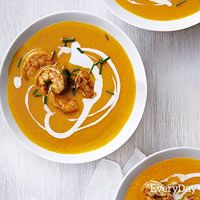 Carrot and Coconut Soup with Curried Shrimp- makes enough for 7-8