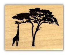 GIRAFFE and ACACIA TREE Silhouette African by sweetgrasstamps, $7.00