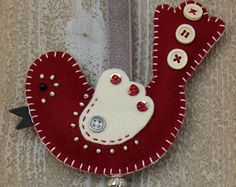 Felt bird decoration - Red and offwhite felt Luckybird with beads, sequins, buttons and ribbons