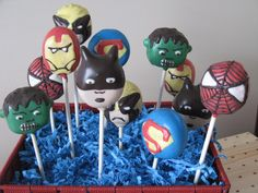 william saw these superhero cake pops - wants them for his birthday!