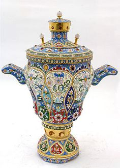 RUSSIAN__silver & Enamel - Samovar from the late 19th Century