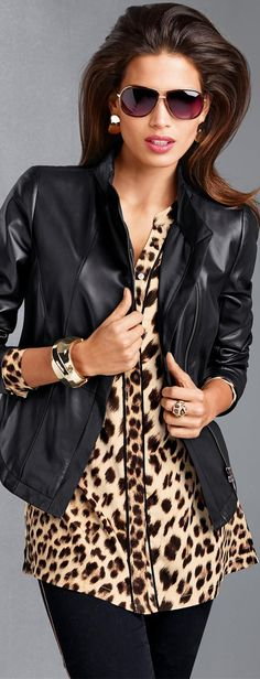 MADELEINE Animal Print Blouse and Leather Jacket