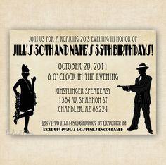 Roaring 1920's Flapper and Gangter Birthday Invitation  - Printable Invitation Design. $13.00, via Etsy.