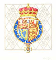 The Arms of Prince Andrew, Duke of York, as Knight Commander of the Royal Victorian Order.