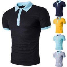 Men's Fashion Color Block Turndown Collar T-Shirt Polo Shirts Casual T Shirts, Men Casual, Shirt Tucked In, T Shirt Vest, Polo Shirts, Workout Tank Tops, Sport T Shirt, Men's Fashion, Menswear
