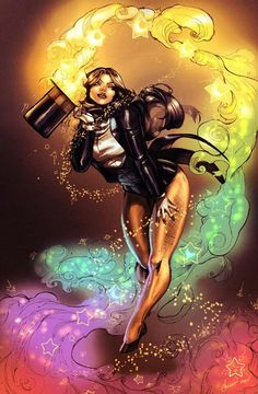 Zatanna...The pants thing still bothers me. SERIOUSLY! Just nick an artery and she will bleed to death.GIVE THEM SOME PROPER PANTS DC!