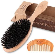 Amazon.com : BLACK EGG Boar Bristle Hair Brush for Women Men Kid, Soft Natural Bristles Brush for Thin and Fine Hair, Restore Shine and Texture, Set includes Bamboo comb and 3 hair ties(Random Color) : Beauty Nexxus Hair Products, Bamboo Hair Products, Boar Bristle Hair Brush, Natural Bristle Brush, Best Hair Brush, Hair Brush Set, Wooden Hair Brush, Afro Comb, Short Afro Hairstyles
