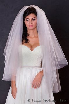 Ivory wedding veil2 tier veilCut Edge Wedding by JuliaWeddingStyle