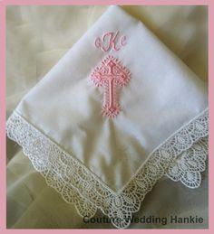 Baptism Gifts for Girls | Girls Baptism Gifts - This personalized baptism handkerchief makes a wonderful baptism gift for girls. Embroidered hankie will be a treasured keepsake gift.