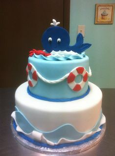 Nautical Baby Shower Cake with a shark instead of a whale