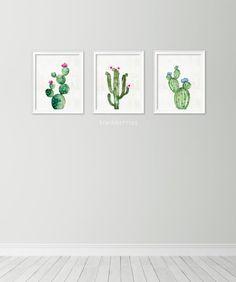 Set of 3 watercolor cactus print  Cactus art print  Gallery