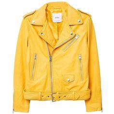 MANGO Leather biker jacket ($200) ❤ liked on Polyvore featuring outerwear, jackets, mustard, leather biker jacket, genuine leather jackets, fleece-lined jackets, embellished jackets and moto jacket
